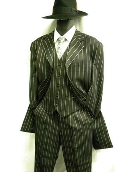 WTXZoot200 Men's Bold Pronounce Pinstripe Three Piece Zoot Fashion Suit 1920's