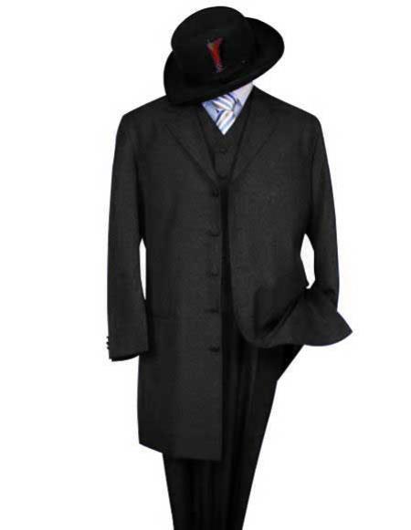 Men's Classic Black Long Fashion Zoot Suit (Wholesale Price available)
