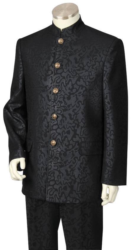 Men's Button Fastener Mandarin Collar Black Mandarin Banded No Collar Suit