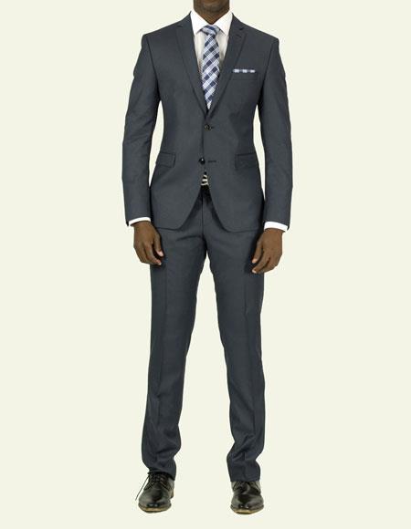 Mens Pick Stitched 2 Button Slim Fit Skinny Suit Slate Blue