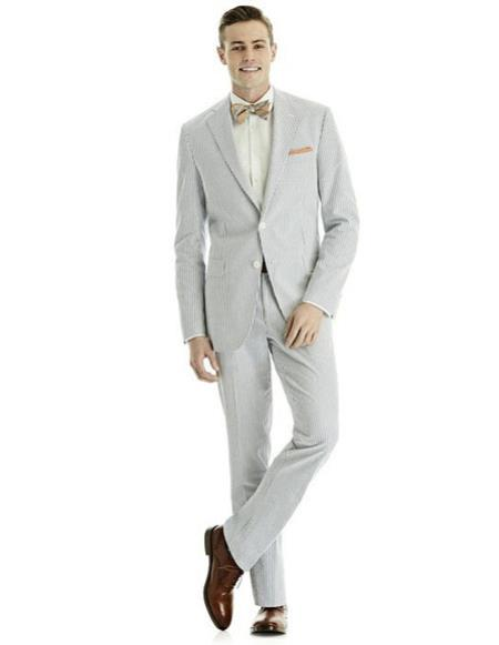 SKU#CH2381 Mens blue best Suit Buy One Get One Suits Free Seersucker Suit