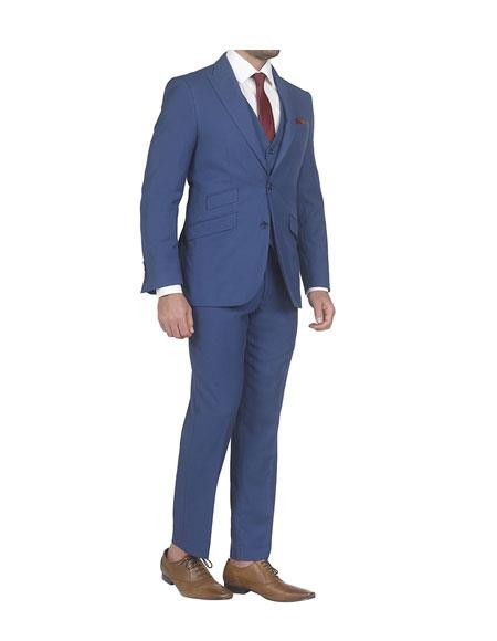 Mens  slim fit 3 piece vested suits with Ticket Pockets