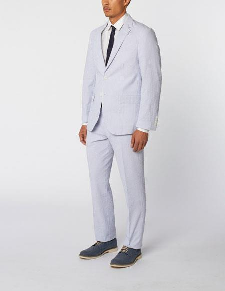 Men's Single Breasted Notch Lapel seersucker ~ sear sucker Cotton Double Vent Two Piece Blue Suit Available Big and Tall Sizes CH583