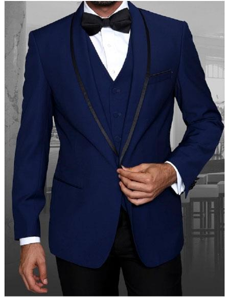 Mens Statement Suits Clothing Confidence  Sapphire Blue Modern Fit Tuxedo Wool Suit