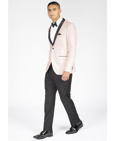 Mens Single Breasted Slim Fit Shawl Lapel Blush Pink Tuxedo