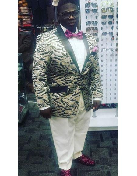 Men's Brown/Black Buttons Closure Peak Lapel Besom Chest Pocket Jacket