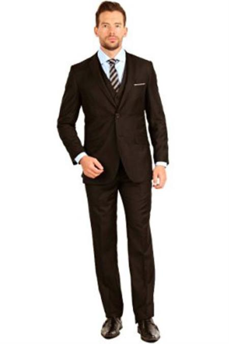Mens Brown Slim Fit 3 Piece Notch Collar Single Breasted Double Vent Vested Suit