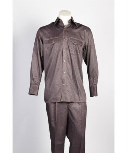 Men's 5 Button Brown Suit