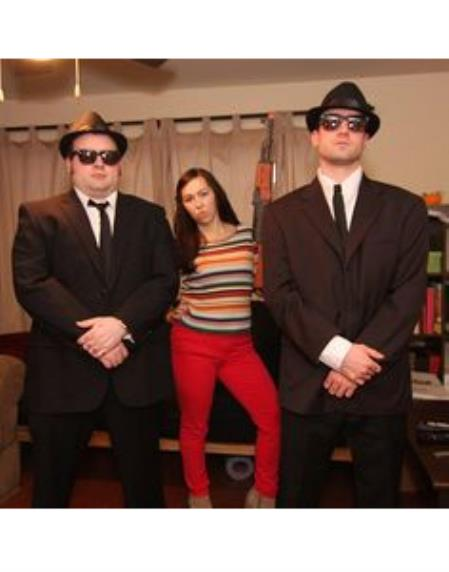 Blues Brothers Brown Suit Costume + White Shirt & Skinny Black Tie and Same Hat