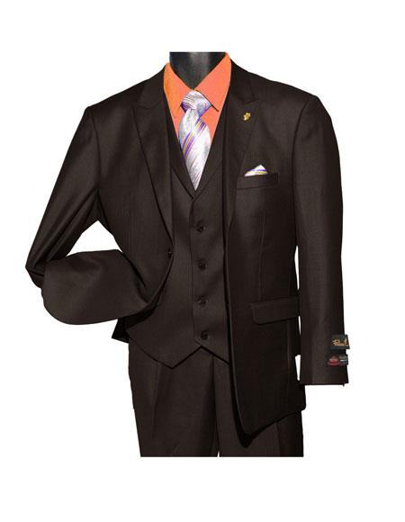 Falcone Men's Fashion Brown  2 Button Vested Suit
