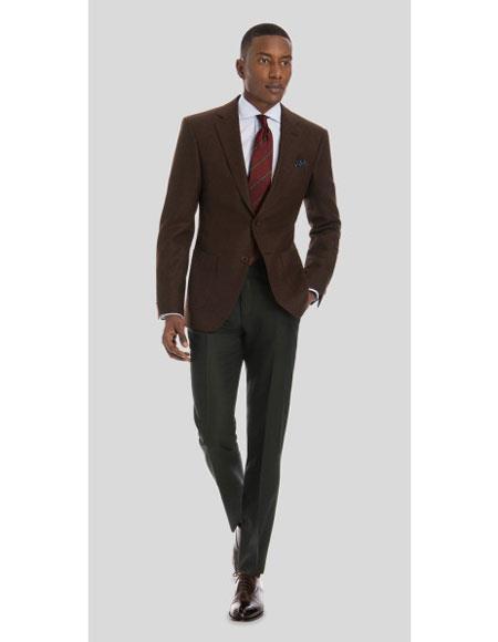 Mens Brown 2 Button Solid Pattern Wool  Cheap Priced Designer Fashion Dress Casual Blazer For Men On Sale Blazer