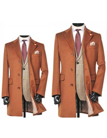 Mens Dress Coat 3 Button Copper ~ Rust ~ Cognac Dakr Orange Notch Lapel Wool Overcoat
