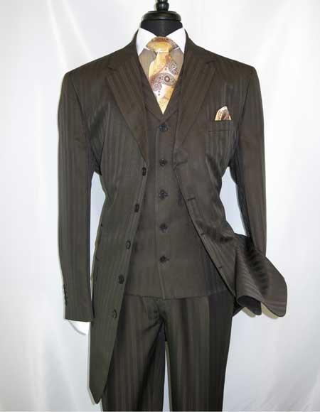 Men's  Wool 5 Button  Brown Extra Long Vested Side Vent Zoot Suit - Pimp Suit - Zuit Suit