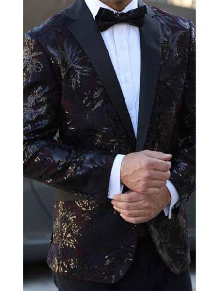 SKU#E-137 Mens Floral Designed Black Notch Lapel Burgundy ~ Wine ~ Maroon Color~Black tuxedo dinner jacket