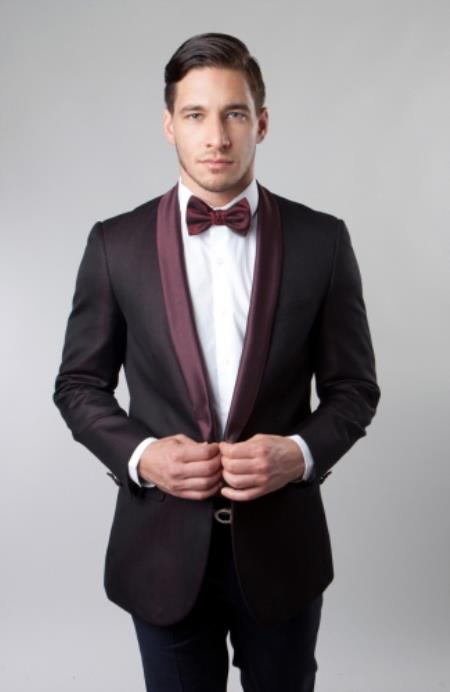 Buy SM4132 Mens Shawl Collar Single Button Burgundy ~ Wine ~ Maroon Color Dinner Jacket / Blazer Sport coat
