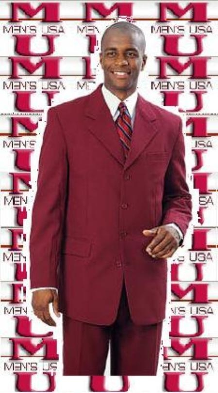 SKU# MU12 Bright Burgundy ~ Maroon ~ Wine Color Suit 3 Buttons Single Breasted Fashion Dress Suits