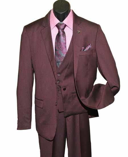 Mens 3 Piece Burgundy ~ Wine ~ Maroon Color Single Breasted Notch Lapel Chain Closure Vested Suit