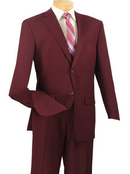 Mens 2 Piece Big And Tall Notch Lapel Single Breasted Burgundy ~ Wine ~ Maroon Suit  Extra Long Burgundy Suit
