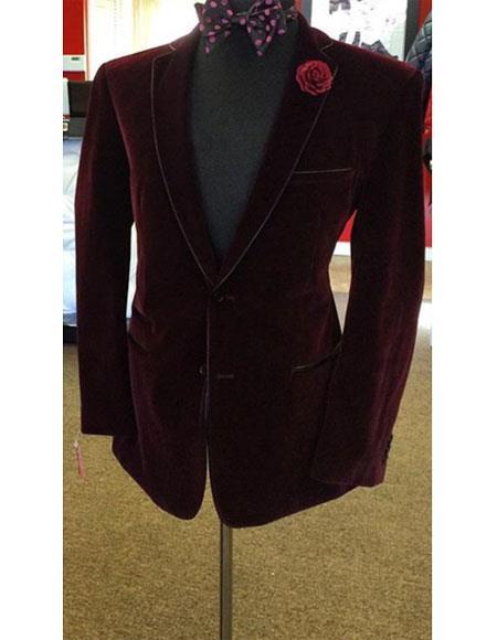 Top quality velvet fabric besom chest pocket burgundy overcoat for men