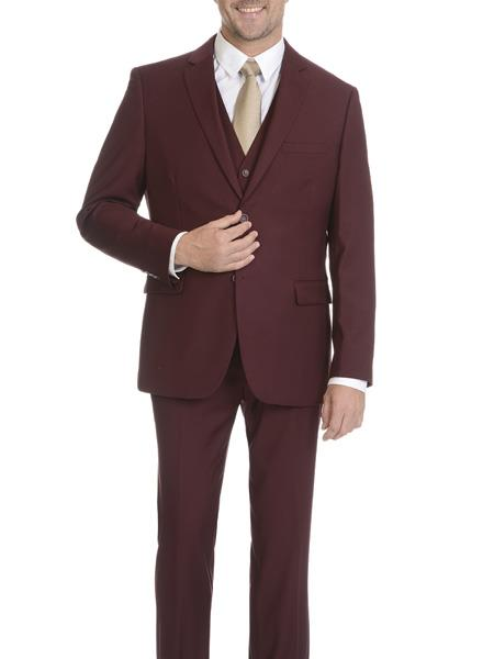 Caravelli Men's 2 Button Burgundy ~ Wine ~ Vested Slim Fitted Maroon Suit