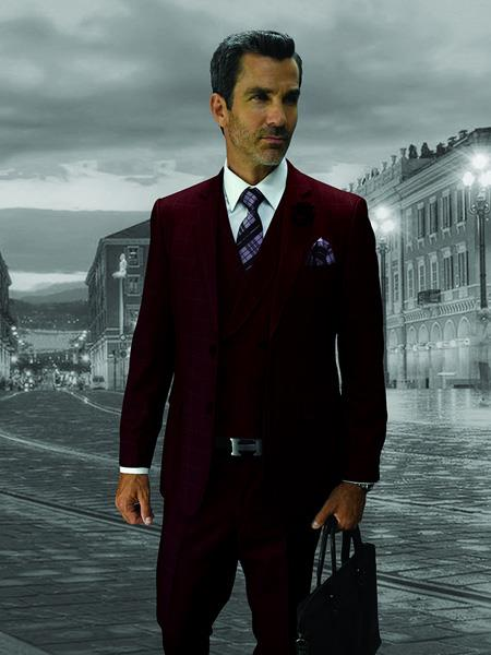 CALABRIA Burgundy ~ Wine ~ Maroon Color Statement Suits Clothing Confidence Plaid Suit