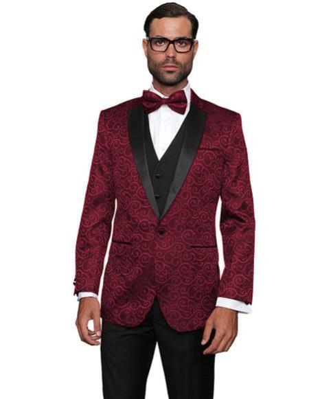 Alberto Nardoni Brand Fashion Mens Burgundy ~ Wine ~ Maroon Color Floral Sateen Unique Paisley Sport Coat Sequin Shiny Flashy Silky Satin Stage Fancy Stage Party Two Toned Blazer / Sport coat / Mens Jacket / Dinner Jacket