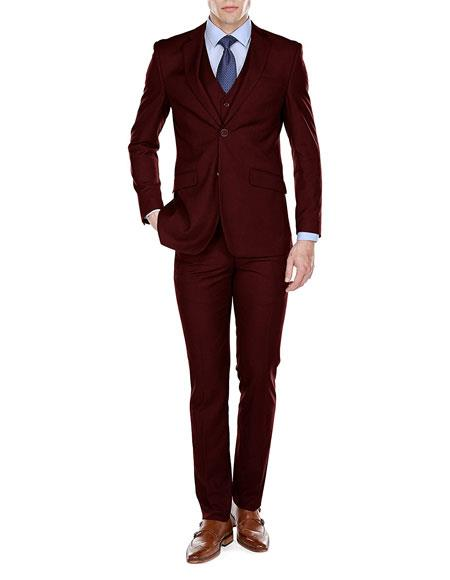 Mens Burgundy ~ Wine ~ Maroon Suit Slim Fit 3 Piece Single Breasted 2 Button Notch Lapel Suits (Buy Wholesale 10PC&UP of this for $90)