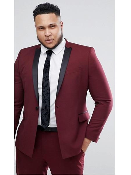 SKU#JS303 Mens Slim Fit Burgundy ~ Wine ~ Maroon Color ~ Maroon Tuxedo
