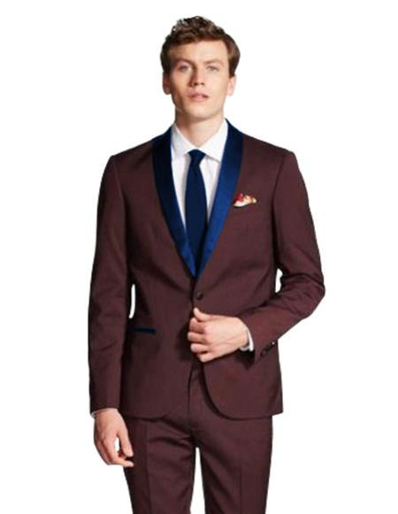 mens Single Breasted Navy Blue Shawl Lapel Burgundy ~ Wine ~ Maroon Color tuxedo jacket