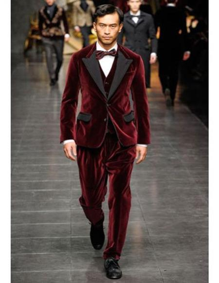 SKU#CH2348 Mens Burgundy ~ Wine ~ Maroon Color Single Breasted tuxedo Peak Black Lapel Velvet vested suit