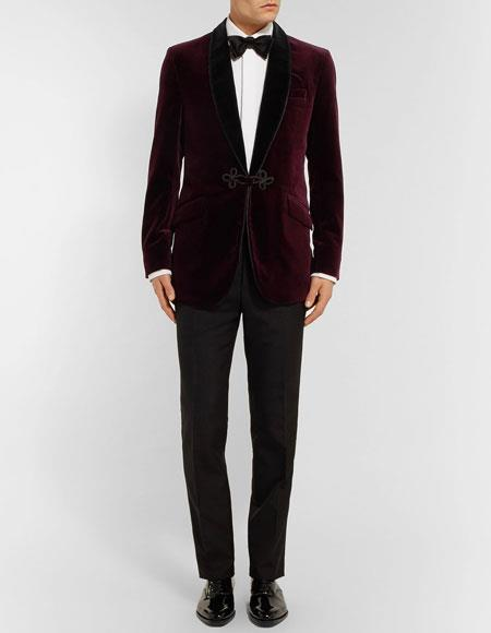 Men's Burgundy ~ Wine ~ Maroon Color  Slim fit two-tone cotton velvet tuxedo jacket Burgundy Tuxedo