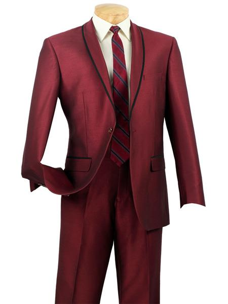 Mens One Button Slim Fit Black and Burgundy ~ Wine ~ Maroon Color Tuxedo