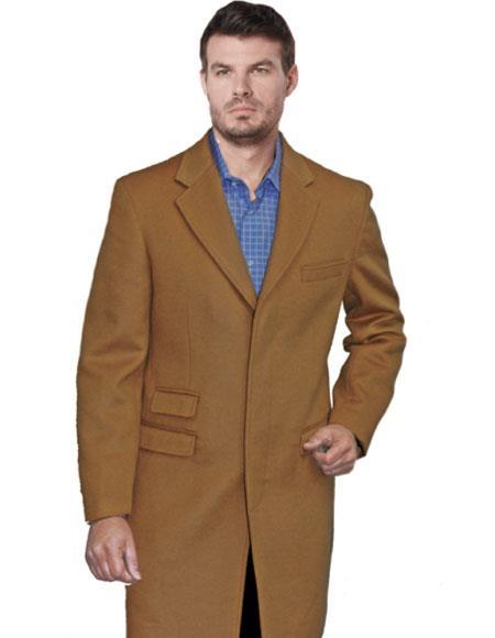 Three Quarters Length Mens Dress Coat Light Long Jacket Camel Single Breasted Notch Lapel Mens Carcoat ~ Designer Mens Wool Peacoat Sale