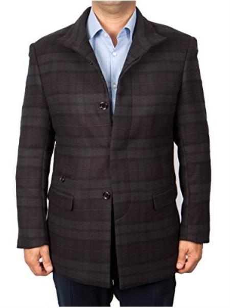 Mens Dress Coat Patterned Button Closure Charcoal/Black Overcoat