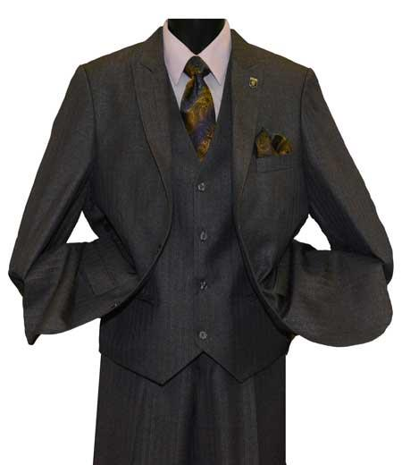 Mens Charcoal 2 Button Single Breasted Peak Lapel Vested Side Vent Suit