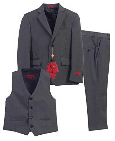 Buy SM2085 Boys 3 Piece Single Breasted Formal Notch Lapel Vest Charcoal Suit Pants Set