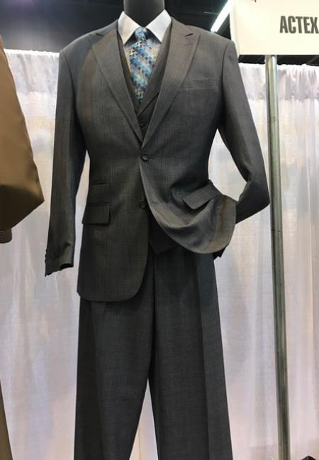 Mens Vittorio St Angelo Charcoal 2 Button Peak Lapel Plaid Suit