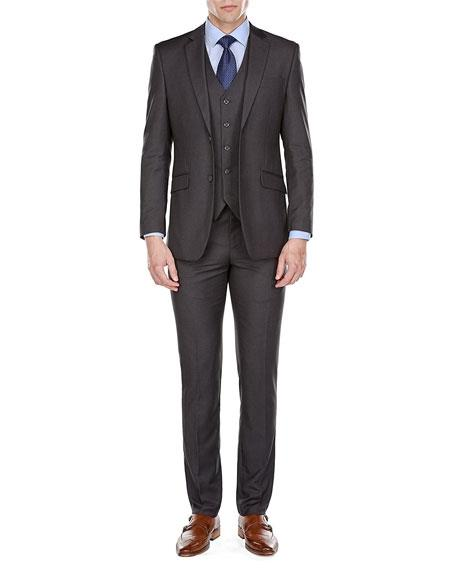 Mens 3 Piece Single Breasted 2 Button Charcoal Slim Fit Suits (Buy Wholesale 10PC&UP of this for $90)