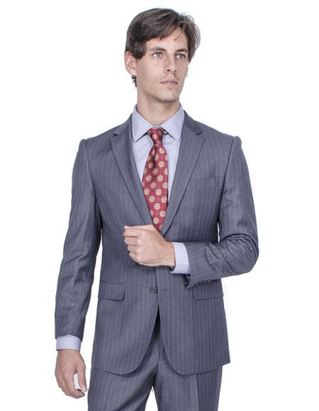 Buy CH1401 Men's Striped Single Breasted Authentic Giorgio Fiorelli Brand suits Flat Front Pants