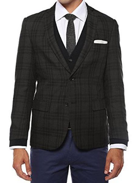 Ferrecci Men's Plaid Slim Fit Charcoal Vested Blazer Dinner Jacket