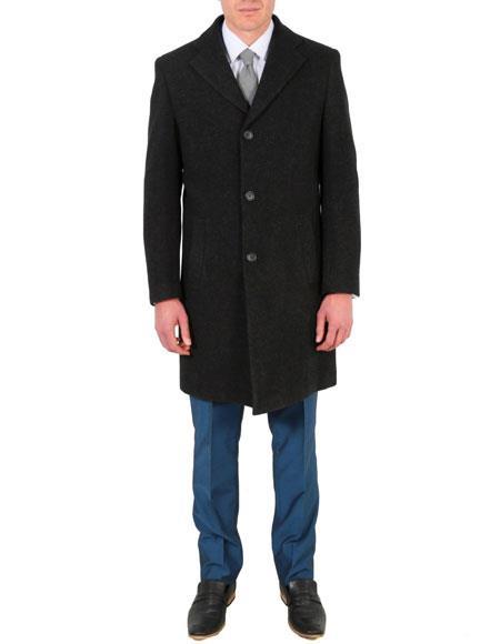 Mens Dress Coat carcoat Modern Fit Wool/Poly Charcoal Overcoat
