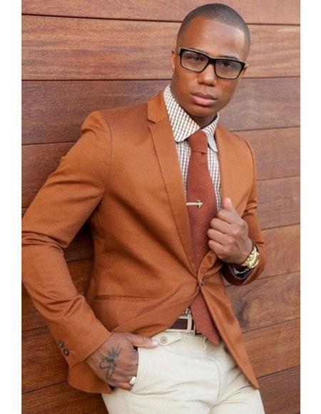 Cognac ~ Rust ~ Copper Color Burnt orange Mens 2 Buttons Blazer ~ Sport Coat Jacket