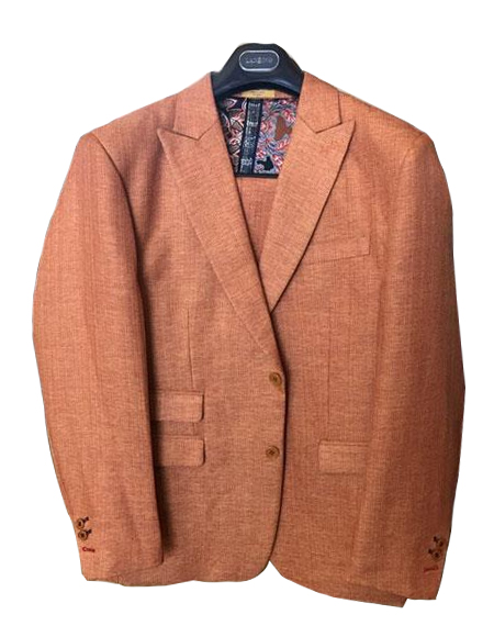 Mens Brick Linen ~ Cotton Summer 2 Buttons Peak lapel Suit