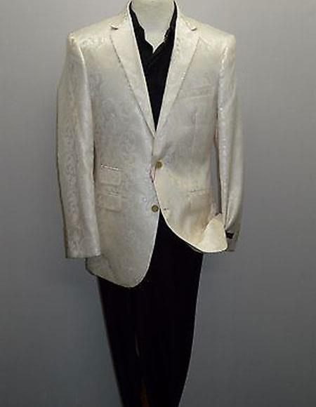 Shiny Floral Paisley Formal Silky Cream ~ Ivory ~ Off White Blazer Available Boys & Big Sizes