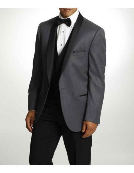 SKU#CH2358 Mens One Button Tuxedo Shawl Lapel Dark Gray vested Suit