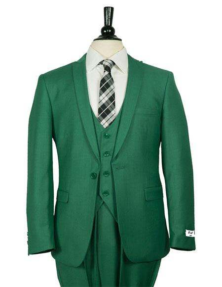 Mens Single Breasted 1 Button Dark Green Vested Suit
