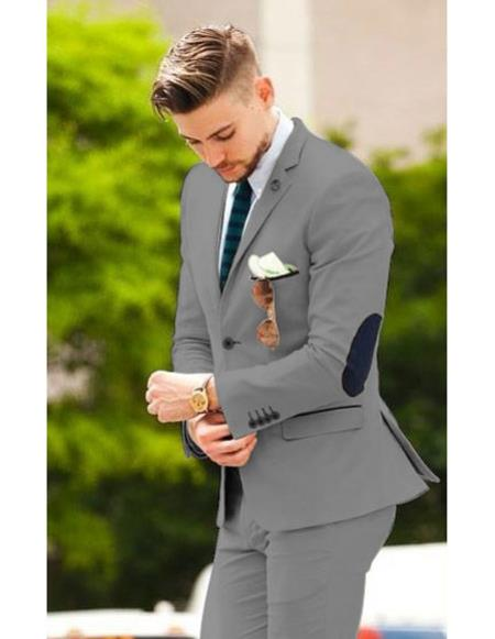 Mens suit jacket with elbow patches Matching Free pants Dark