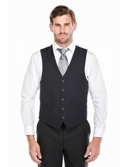 Mens Classic Fit 5 Button Single Breasted Dark Navy Vest