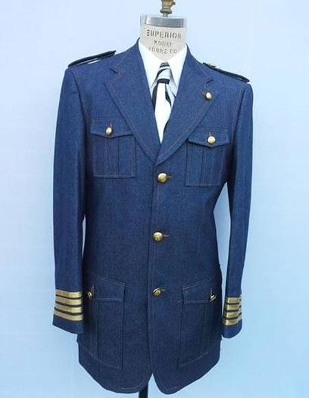 Denim ~ Jean Blue Suit with brass buttons
