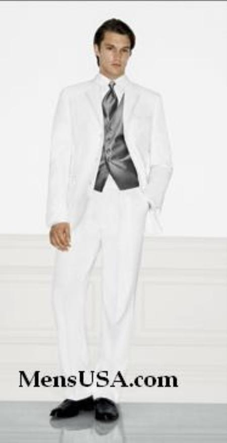 SKU# TM72 Single Breasted EXTRA FINE HAND MADE White Tuxedo Dress Suit